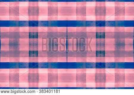 Watercolour Scotland Fabric. Red Stripes Texture. Seamless English Tile Design. Gingham Ornament. Cl