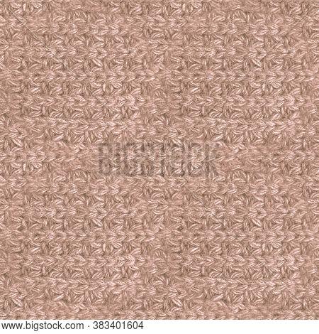Brown Woolen Thread. Organic Knitted Fabric. Jacquard Holiday Garment. Closeup Scandinavian Canvas.