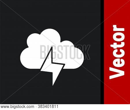 White Storm Icon Isolated On Black Background. Cloud And Lightning Sign. Weather Icon Of Storm. Vect