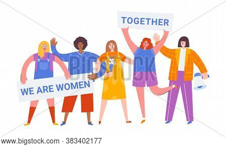 International Women Day. Vector Illustration With Women Different Nationalities And Cultures. Strugg