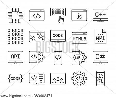 Programming Icon. Development And Programming Line Icons Set. Editable Stroke.