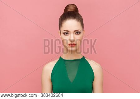 Portrait Of Unhappy Sadness Woman With Collected Hair