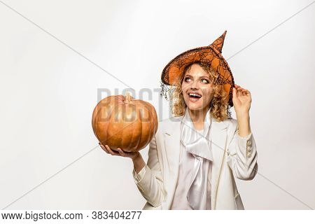 Halloween Theme. October. Smiling Witch With Halloween Pumpkin. Trick Or Treat. Happy Halloween. Hal