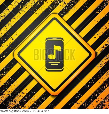 Black Music Player Icon Isolated On Yellow Background. Portable Music Device. Warning Sign. Vector