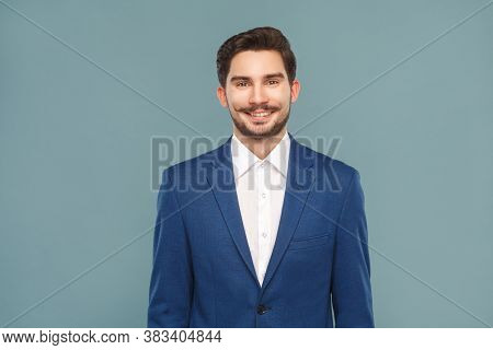 Handsome Young Businessman Toothy Smiling