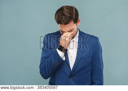 Unhappy Man Crying, Closed Eyes And Have A Problem