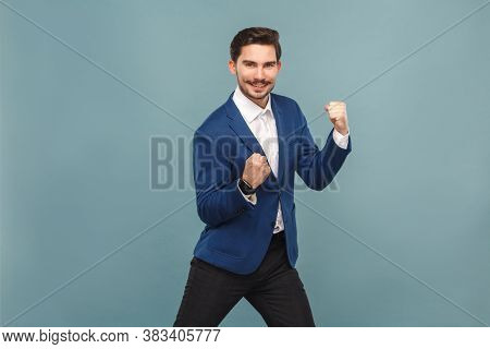 Yes! I Win! Siccessful Businessman Rejoicing And Toothy Smiling