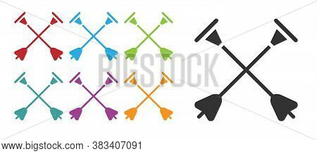 Black Arrow With Sucker Tip Icon Isolated On White Background. Set Icons Colorful. Vector