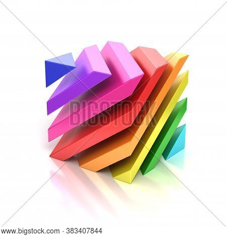 Abstract Colorful Cube 3d Rendering, Three Dimensional Object