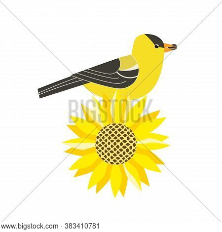 Goldfinch Bird On Sunflower Cute Vector Icon. Freehand Cartoon Comic Flat Color Style. Wild Birds Of