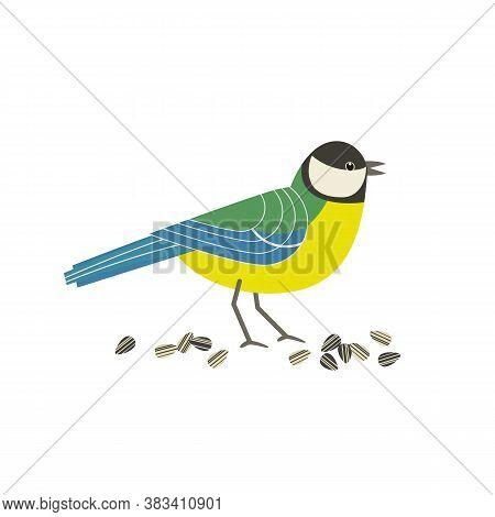 Great Tit Bird Cute Cartoon Flat Color Vector Icon. Freehand Comic Style. City Garden, Backyard Wild
