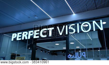 Warsaw, Poland. 1 September 2020. Sign Perfect Vision. Company Signboard Perfect Vision.