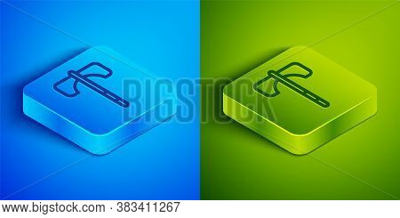 Isometric Line Medieval Axe Icon Isolated On Blue And Green Background. Battle Axe, Executioner Axe.