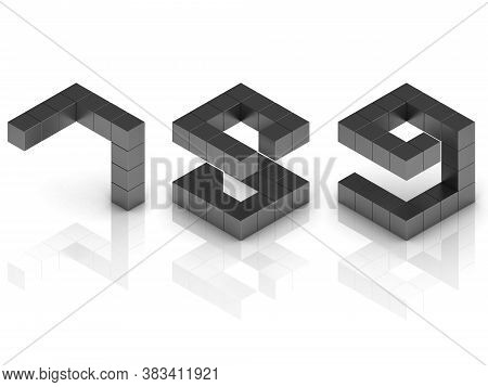 Cubical 3d Font Numbers 7 8 9, Three Dimensional Object