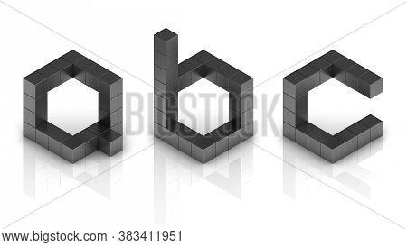 Cubical 3d Font Letters A B C