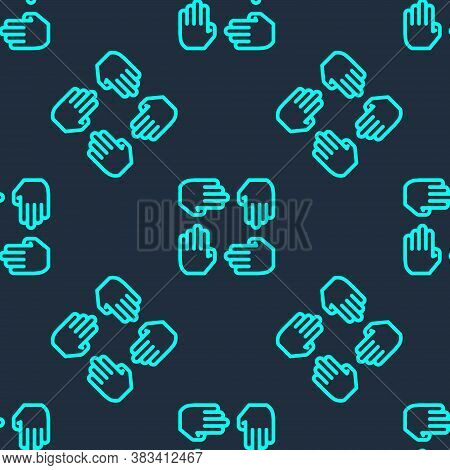 Green Line Project Team Base Icon Isolated Seamless Pattern On Blue Background. Business Analysis An