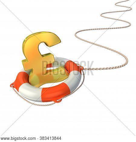 Pound Symbol In Lifebuoy 3d Concept - Pound Crisis