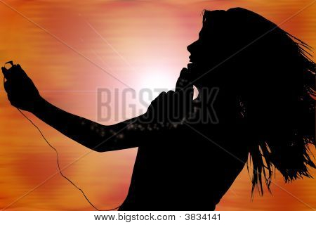 Teen girl with digital music player over abstract background. poster
