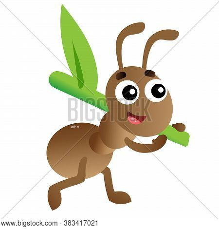 Color Image Of Cartoon Worker Ant On White Background. Insects. Vector Illustration For Kids.