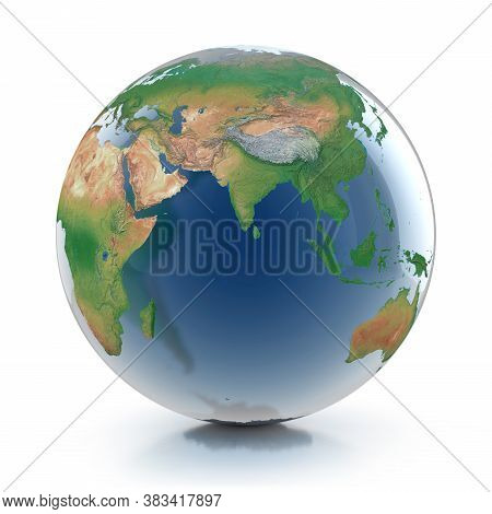 Globe With Transparent Oceans  3d Illustration, Three Dimensional Object
