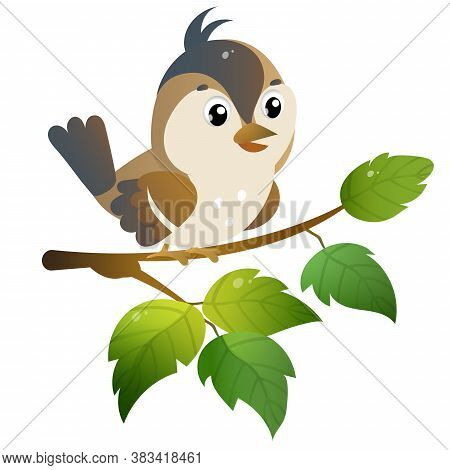 Sparrow. Color Image Of Cartoon Bird On Branch On White Background. Vector Illustration For Kids.