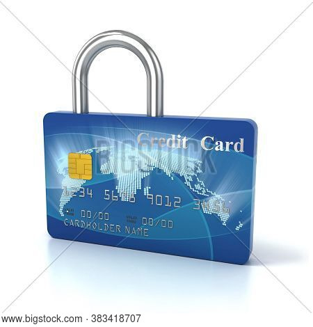 Credit Card Padlock 3d Concept, Three Dimensional Object