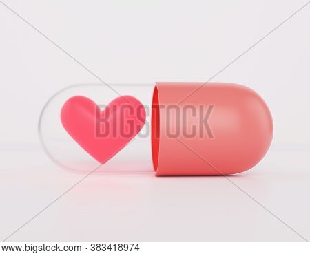 Heart Is In The Red Pill, Aphrodisiac For Men And Women Concept, 3d Render