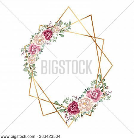 Geometrical Polyhedron With Flower. Floral Botanical Flower.