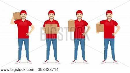 Handsome Delivery Man In Red Uniform Standing In Different Poses With Box And Paper Packet Set Isola