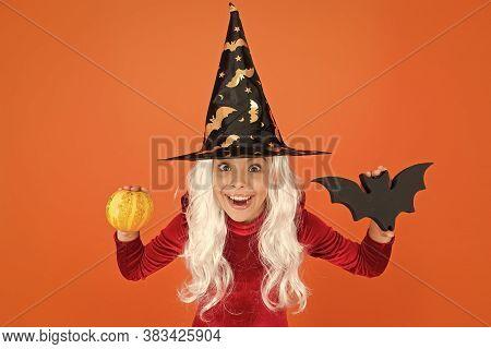 Happy Halloween. Smiling Little Girl Halloween Party. Devil Inside. Spooky Witch. Jack O Lantern. Sm