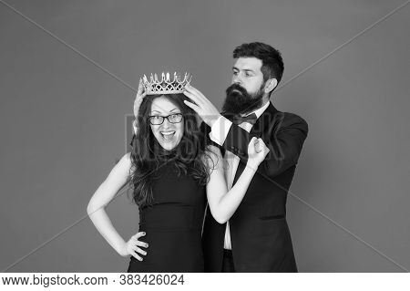 Keep Calm And Celebrate On. Happy Couple Celebrate Success. Bearded Man Crown Pretty Woman. Success