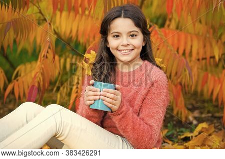 Delicious Coffee Recipe You Have To Try. Small Girl Hold Cup With Delicious Hot Drink. Little Child
