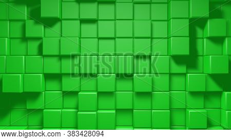 Abstract Geometric Cube Blocks Loop. Abstract Motion Background In Fresh Mint Green. Green Clean Min