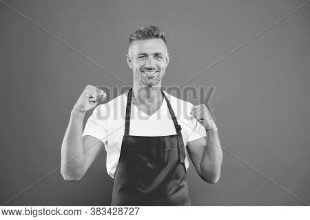 Friendly Happy Bartender. Professional Cleaning. Household And People Concept. Hospitable And Confid