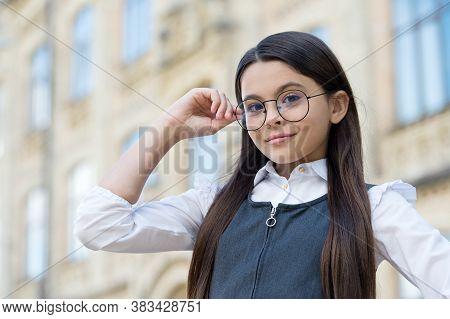 Little Child Fix Round-framed Eye Glasses Wearing Formal School Uniform Outdoors, Vision. Formal Edu