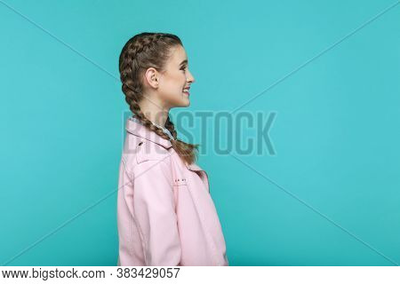 Profile Side View Of Happy Toothy Smiley Portrait Of Beautiful Cute Girl Standing With Makeup And Br