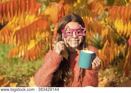 Hot Cocoa. Little Child Hold Cup Energy Drink. Small Girl Recharge Energy With Hot Drink Sunny Autum