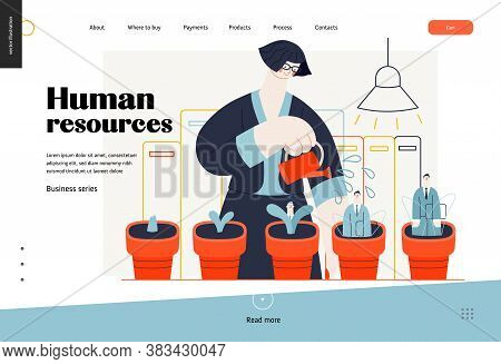 Business Topics - Human Resources, Web Template, Header. Flat Style Modern Outlined Vector Concept I