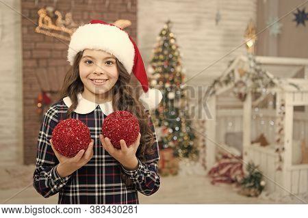 Playful Kid. Decor Shop. Pick Decorations Home. Child Decorating Christmas Tree Balls. Girl Kid Deco
