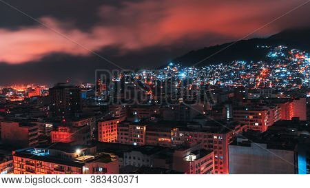 Night Wide-angle Cityscape Of Copacobana District Of Rio De Janeiro, Brazil, With Plenty Of Resident
