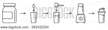 Sport Nutrition Supplement Concept. Instructions How To Make Whey Protein Isolate Shake With Kitchen