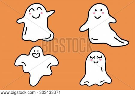 Set Of Halloween Cute Ghosts. Cartoon Doodle Ghost Character Isolated On Orange Background. Vector I
