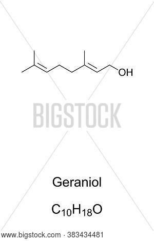 Geraniol, Chemical Structure. Primary Component Of Rose Oil And Citronella Oil. Common Additive In P