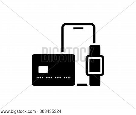 Credit Card, Mobile Phone, Smart Watch. Financial Services, Cash Transfer. Contactless Payment Icon.