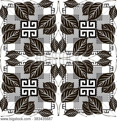 Leafy Seamless Pattern. Black And White Geometric Greek Style Vector Background. Repeat Floral Backd
