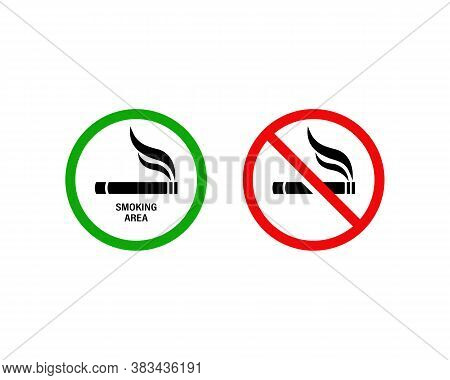 No Smoking And Smoking Area. Cigarette Smokers Zone, Smoking Permitted. Vector On Isolated White Bac