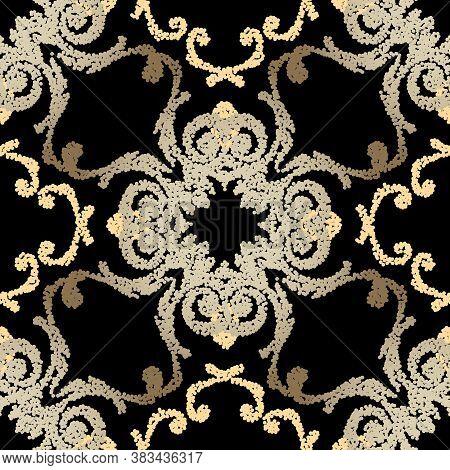 Stippled Grunge Seamless Pattern. Vector Ornamental Textured Background. Vintage Floral Rough Backdr