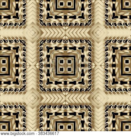 Knotted Gold 3d Vector Seamless Pattern. Plaid Textured Zig Zag Background. Repeat Tartan Backdrop.