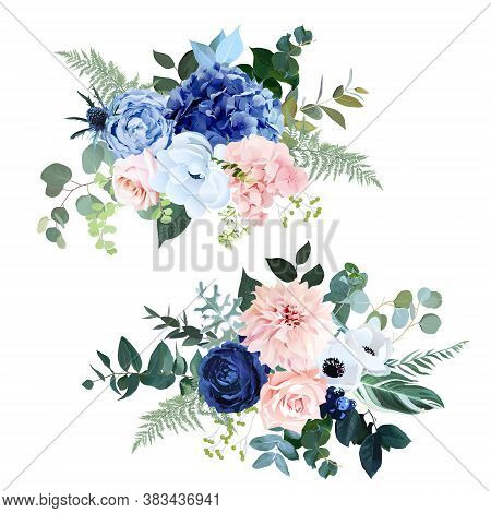 Classic Navy Blue, Blush Pink Rose, Hydrangea, Ranunculus, Dahlia, White Anemone, Thistle Flowers, F