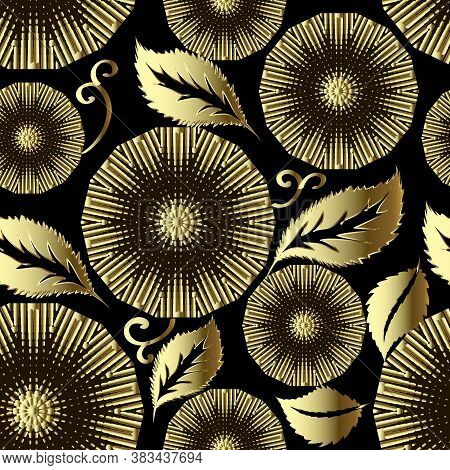 Floral Gold Mandalas 3d Seamless Pattern. Leafy Ornamental Vector Background. Luxury Repeat Backdrop